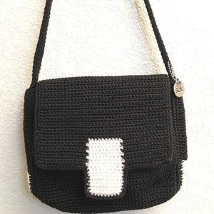 The Sak Black White Shoulder Purse Handbag Knit